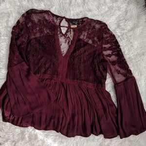 NWT American Eagle Long Sleeve Floral Lace Blouse